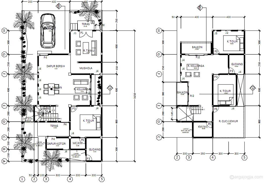 Denah Lantai 1 dan Lantai 2