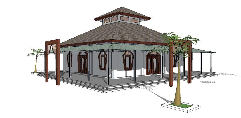 masjid sederhana dengan serambi