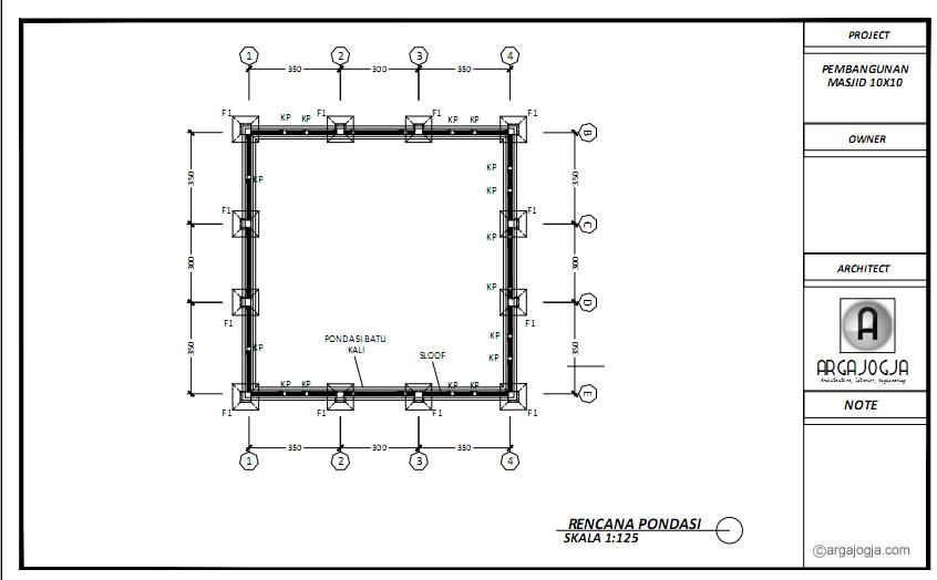 Denah Pondasi Desain Masjid Tanpa Tiang Tengah