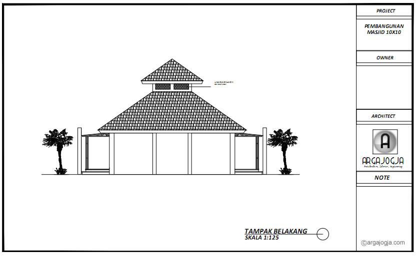 Tampak Belakang Masjid Tropis 10x10