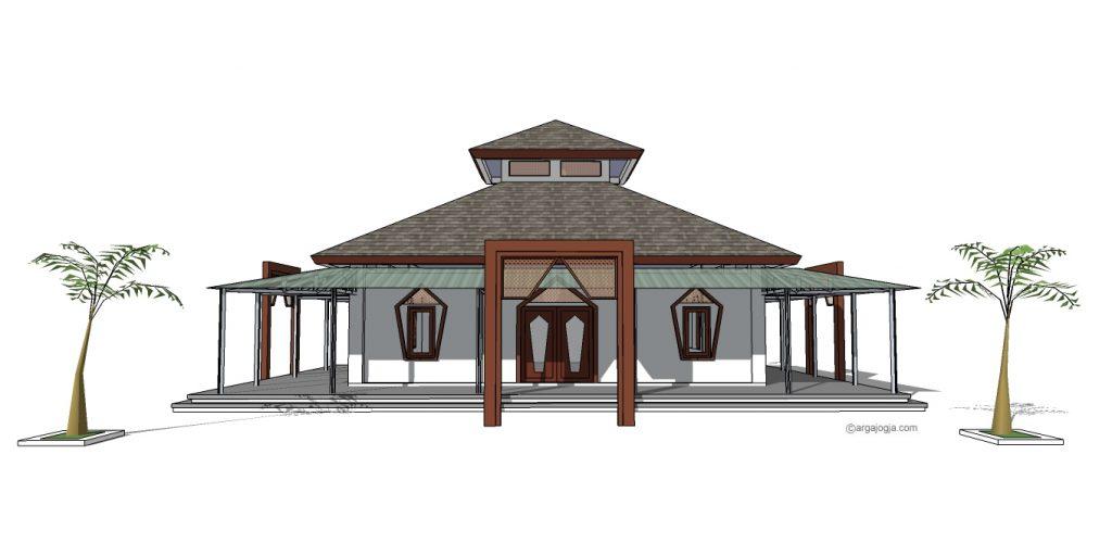 desain masjid tropis tanpa kolom tengah