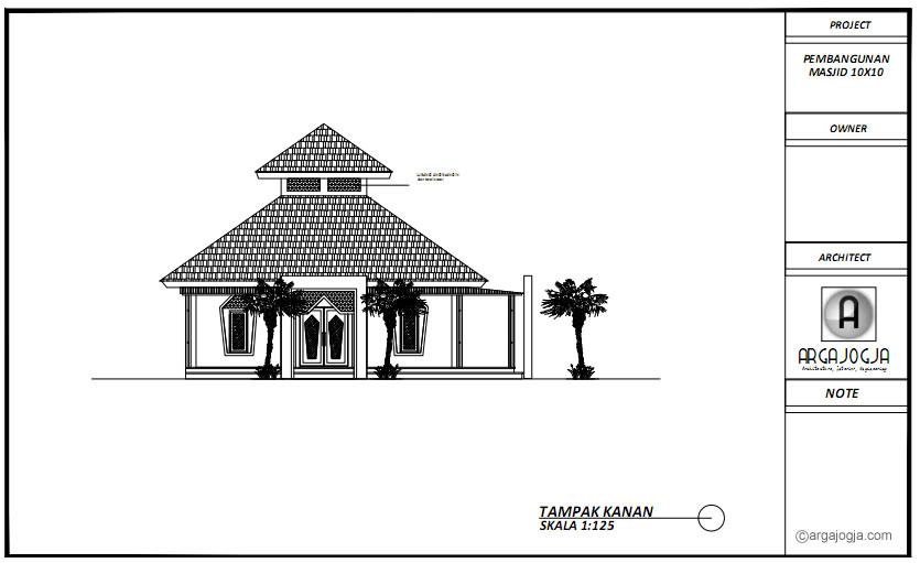 Tampak Kanan Masjid Tropis Sederhana