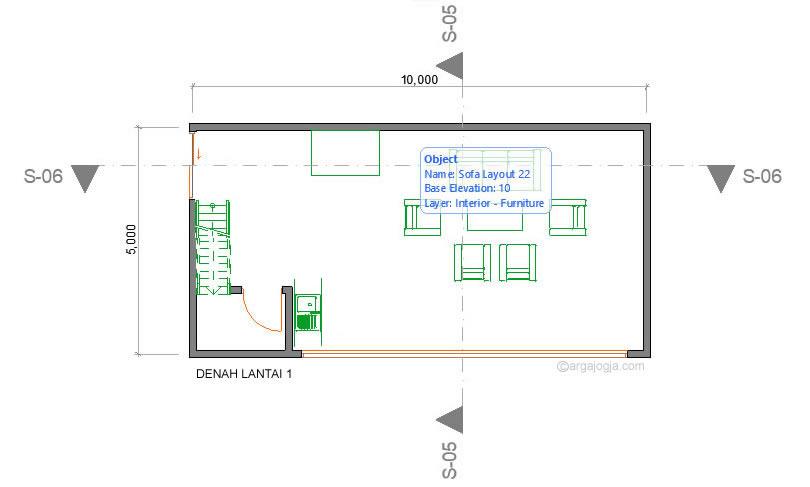 Denah lantai 1 villa minimalis 2 lantai