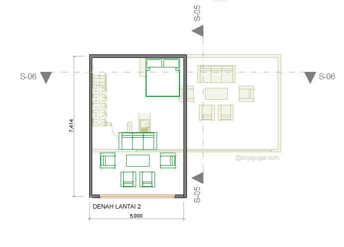 Denah lantai 2 villa minimalis gantung