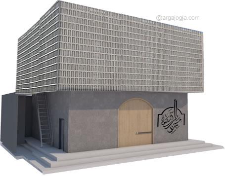 Area Wudhu dan Tangga Masjid Minimalis Fasad Roster
