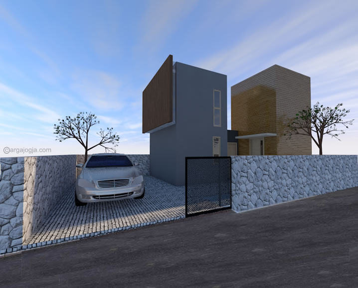 3D Fasad Twin Box Small House