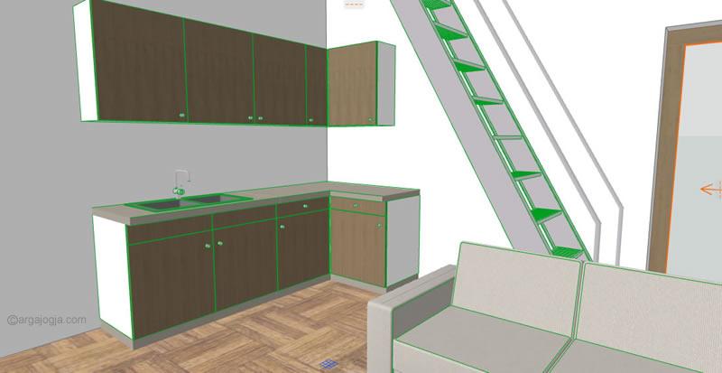 Ruangan lantai 1 fasad kecil minimalis