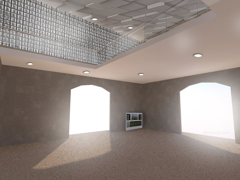 Interior Lantai 1 Masjid Minimais Fasad Roster Argajogja
