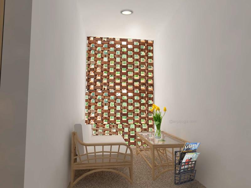 Interior Ruang Keluarga Kecil Mungil Fasad Bata