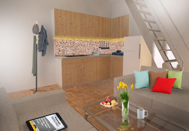 Interior Ruang Tamu dan Dapur Kecil Rumah Kecil