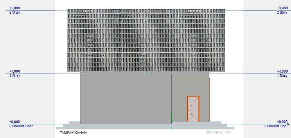Tampak Samping Kanan Masjid Minimalis Fasad Roster