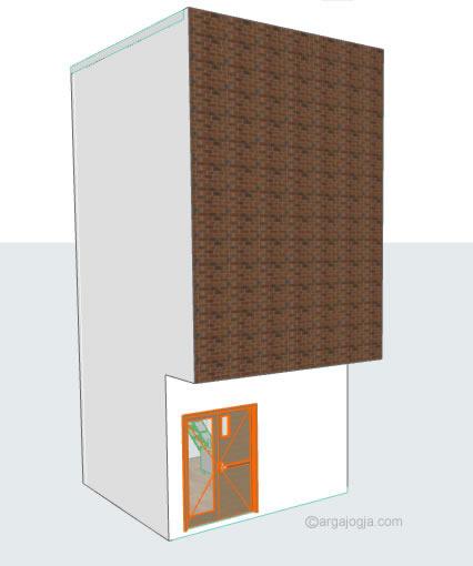 Perpektif Rumah Kecil Minimalis 3 Lantai Fasad Bata