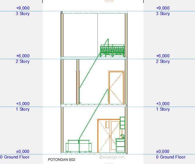 Potongan Rumah Kecil 3 Lantai Minimalis