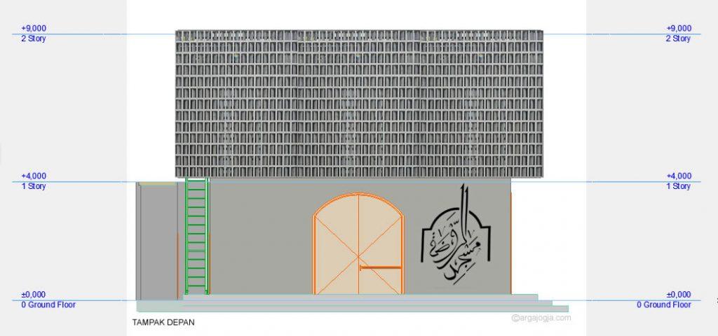 Tampak Depan Masjid Minimalis Fasad Roster