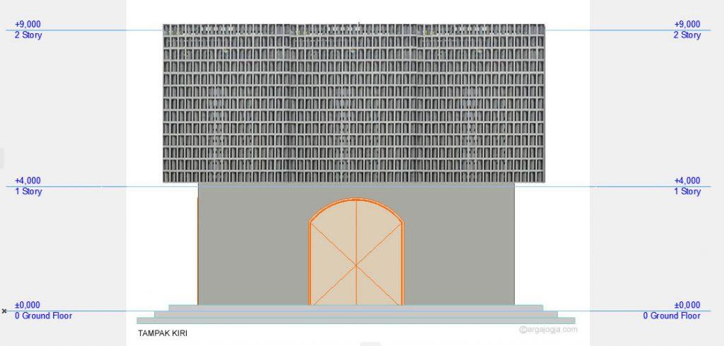Tampak Samping Kiri Masjid Minimalis Fasad Roster