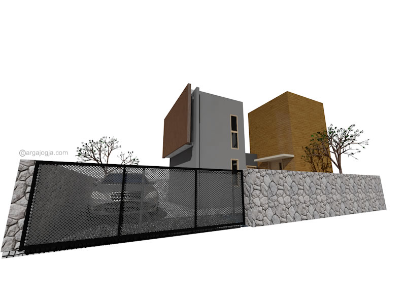 Fasad Minimalis Twin Box House