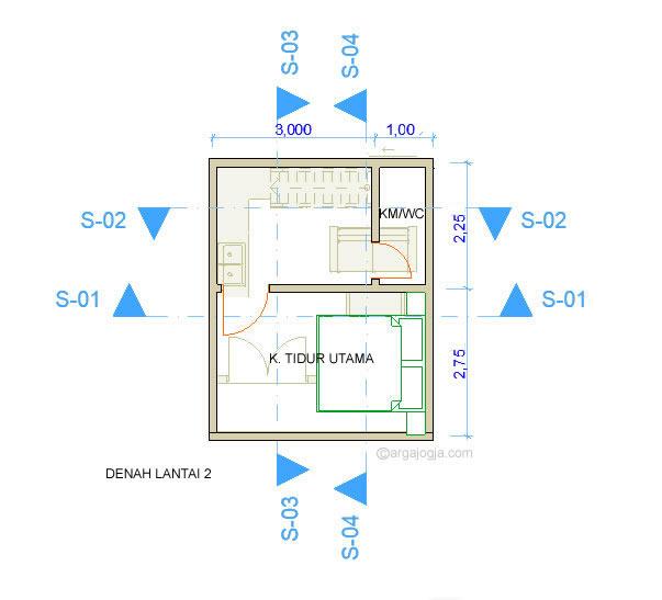 Denah Lantai 2 Rumah Kecil Fasad Bata