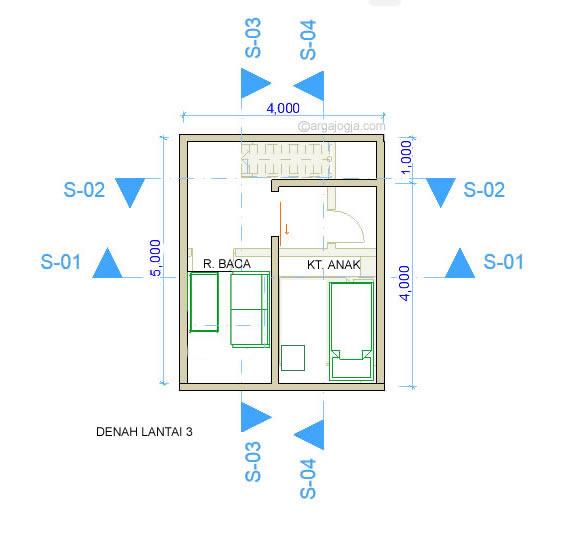 Denah Lantai 3 Fasad Bata Rumah Kecil