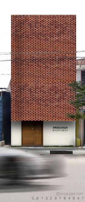 Desain Rumah Kecil 3 Lantai Fasad Bata