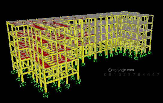 model struktur gedung 4 lantai