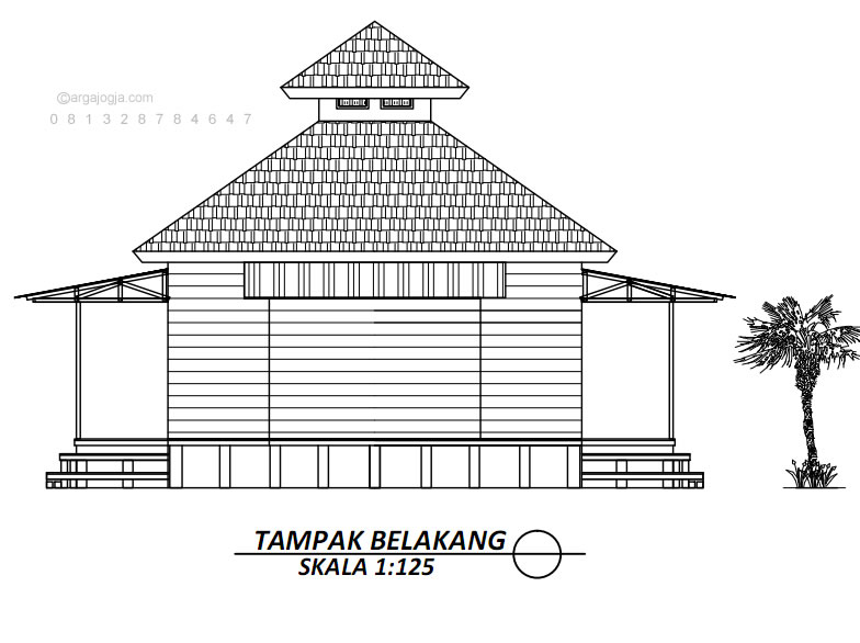 Denah Desain Mushola Kayu Sederhana