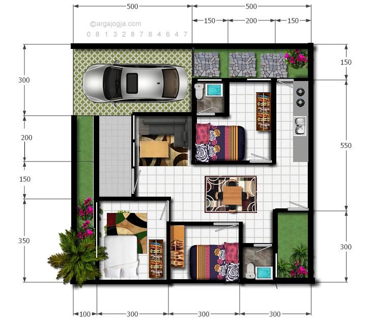 Denah Full Color Rumah Modern Minimalis Lahan 100 m2