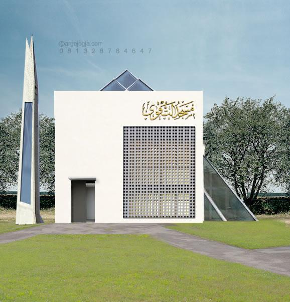 Desain Masjid Kotak Minimalis Kaca