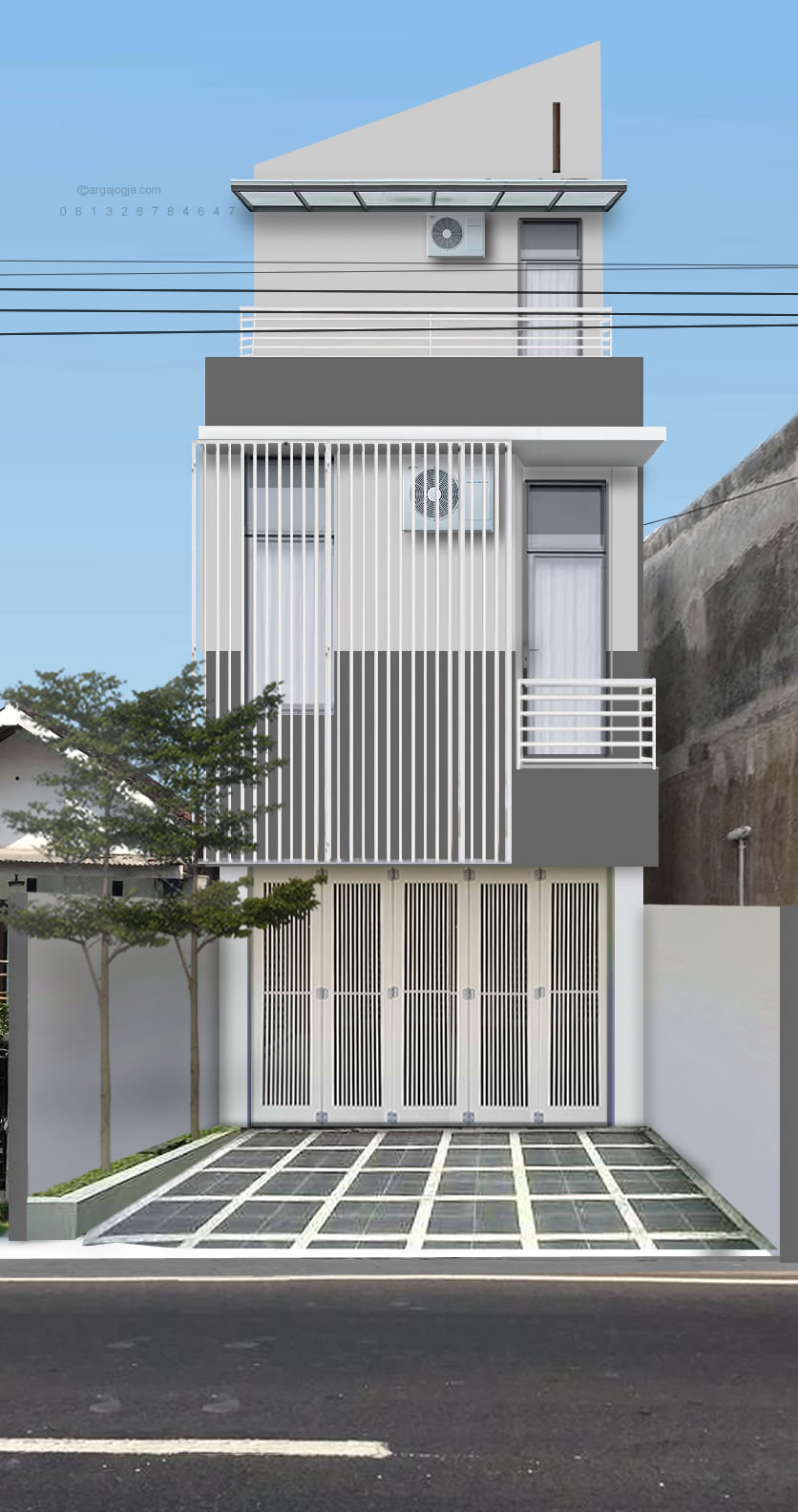 Desain Fasad Ruko Minimalis 3 Lantai