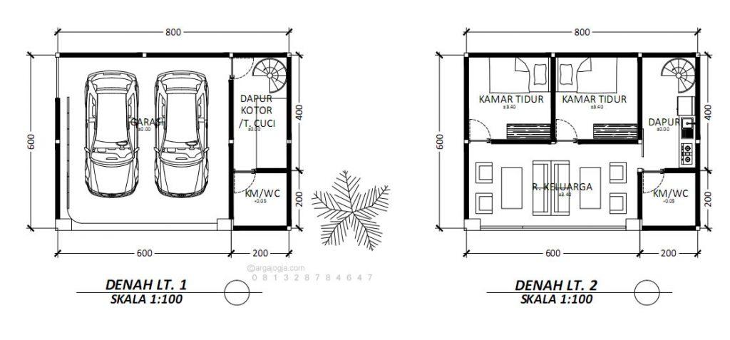 Denah Rumah Minimalis Lahan Kecil 8x 6