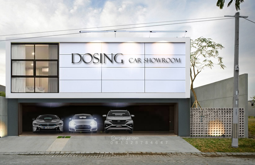 Desain Show Room Mobil Fasad Modern Minimalis