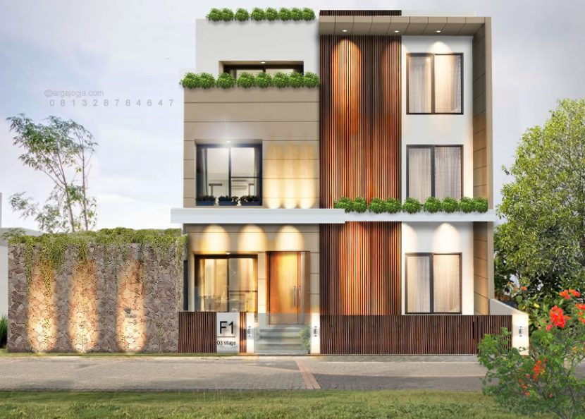 Desain Fasad Rumah Mewah Minimalis 3 Lantai