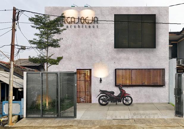 Desain Fasad Rumah Kantor Kotak Simple Minimalis