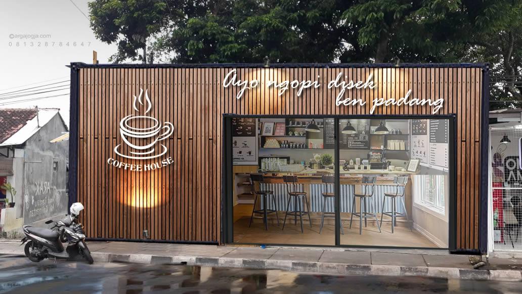 desain fasad warung kopi kecil pinggir jalan