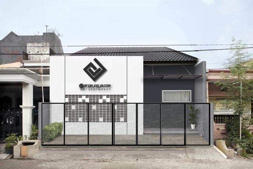 Desain Fasad Putih Kotak Kombinasi Roster