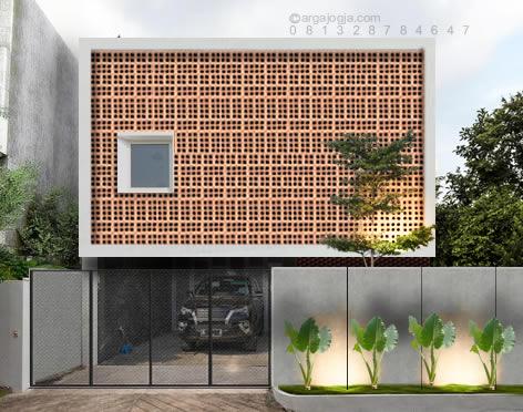 Desain Fasad Rumah Kotak Roster Bata Minimalis