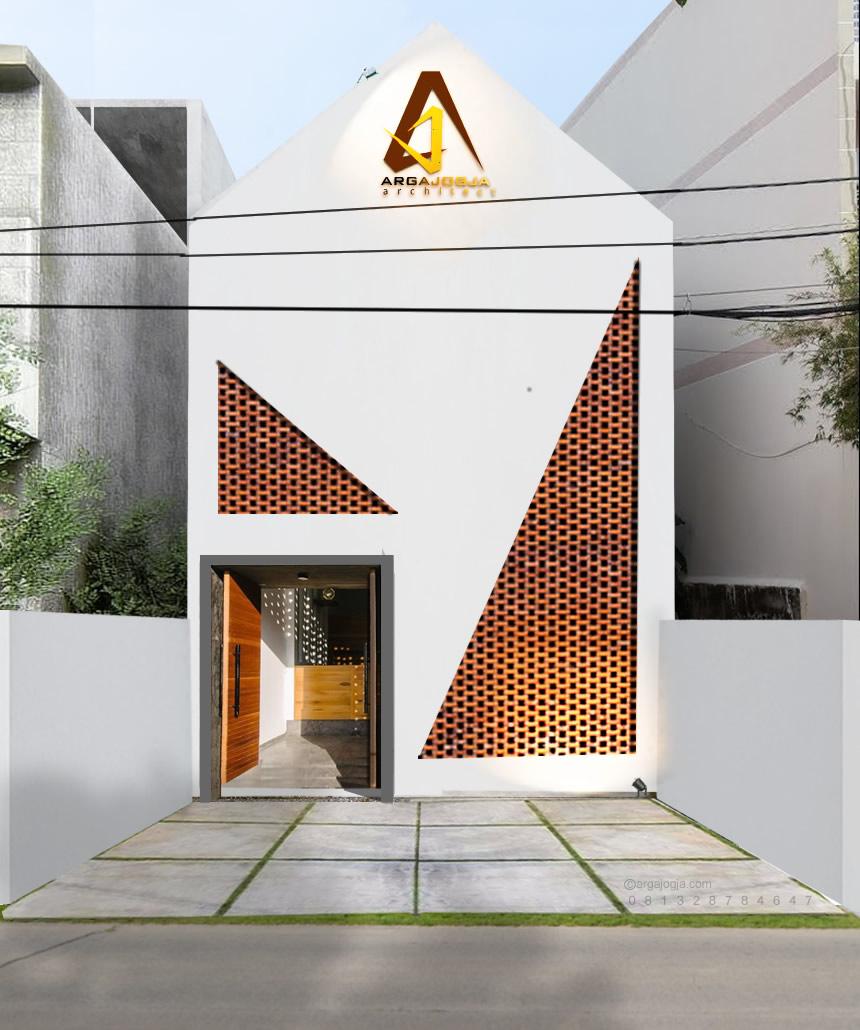 Desain Fasad Kantor Kecil Tema Segitiga