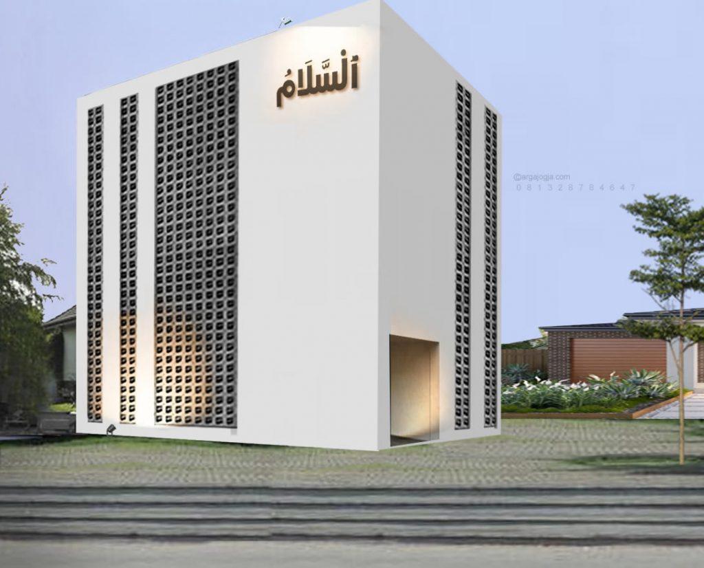 Masjid Kotak Putih Simpel Industrial