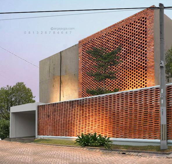 Rumah Fasad Bata Lubang-Lubang 2 Lantai