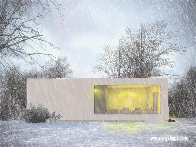 desain rumah kotak putih simpel