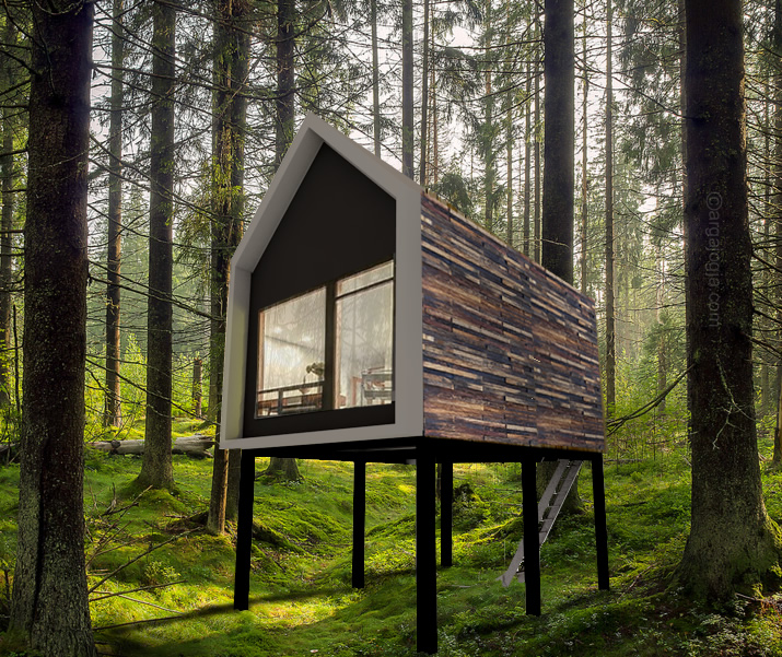 desain villa kecil panggung unik di hutan