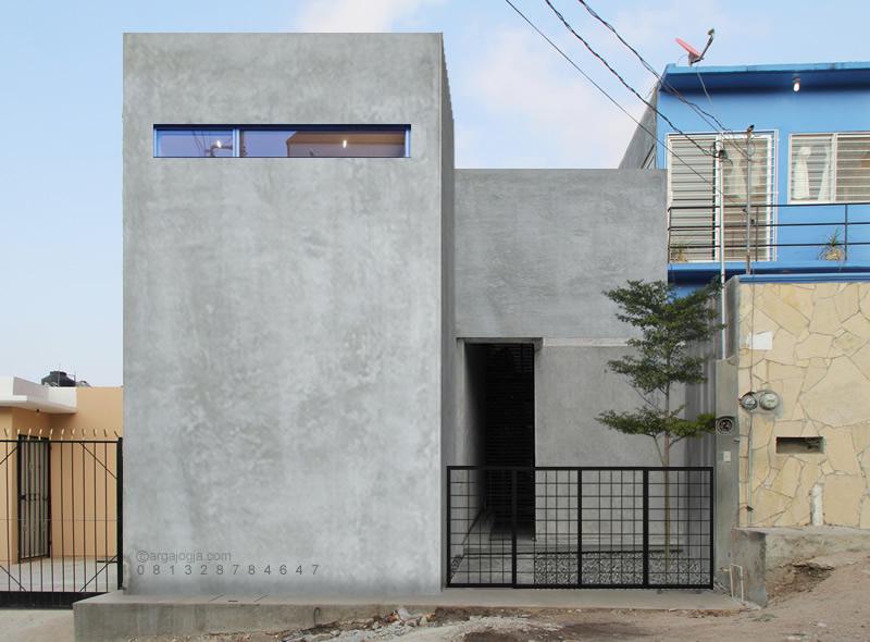 Desain Fasad Rumah Kotak Plester Tok Lahan Kecil