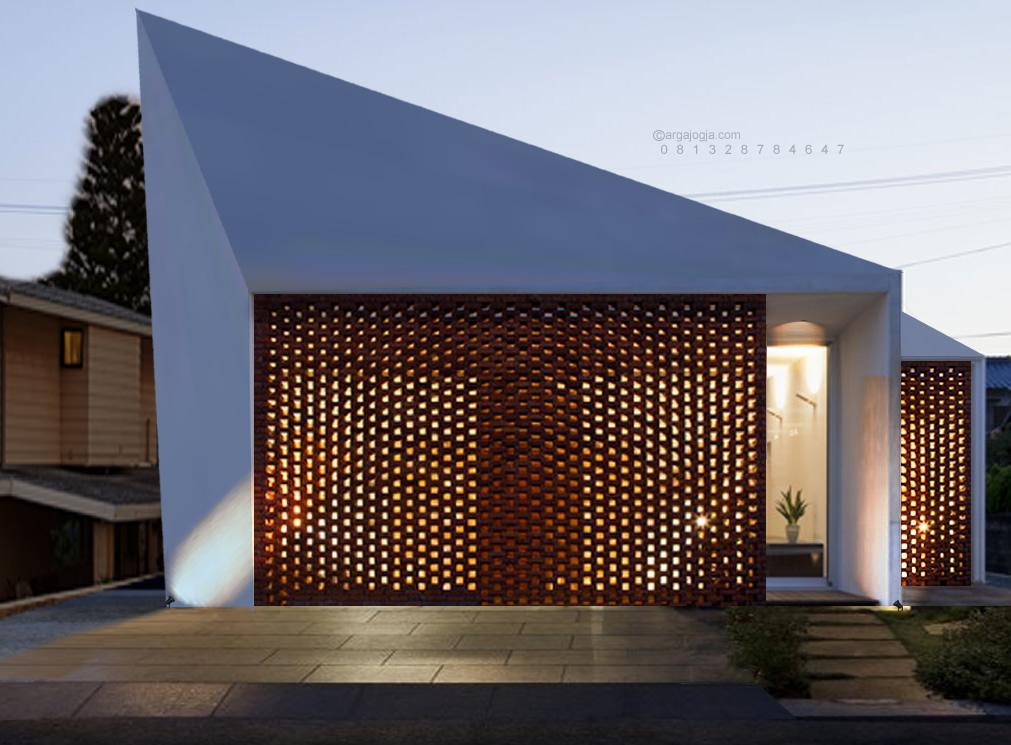Desain Rumah 1 Lantai Fasad Unik Kombinasi Bata