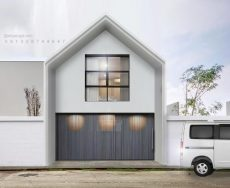 desain fasad putih segitiga simpel low budget 2 lantai