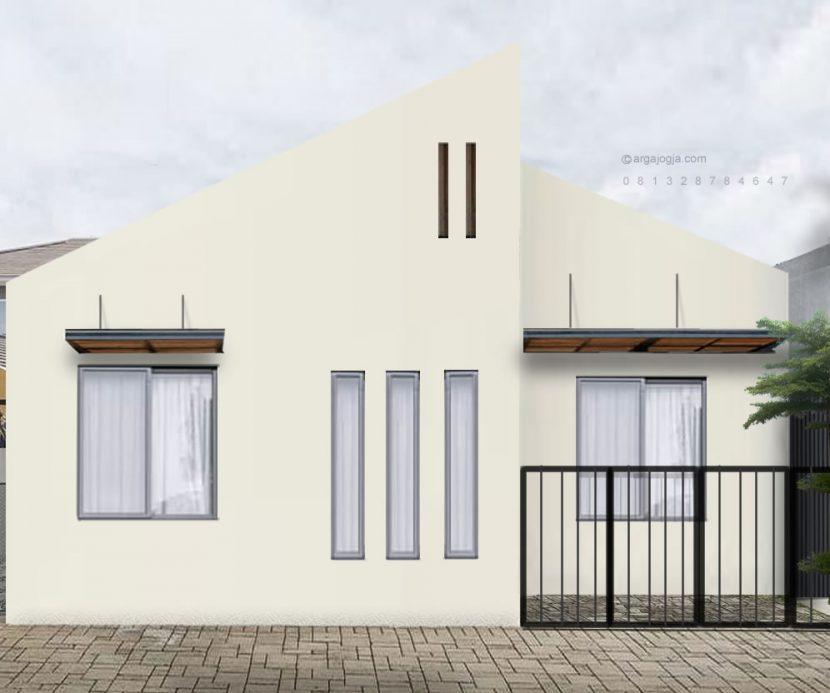 Desain Rumah Putih Tropis Industrial 1 lantai