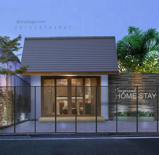 Desain Fasad Home Stay Tropis Minimalis