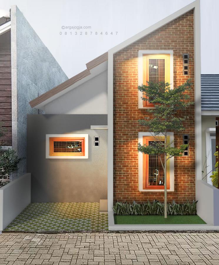 rumah kecil mezanin fasad bata